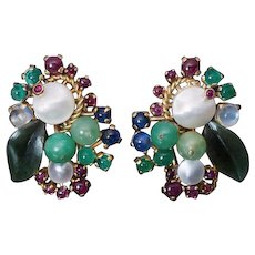 Vintage Retro Tutti Frutti Multi-Gemstone 18K Gold Earrings and Ring