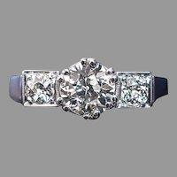 Vintage Art Deco Three Stone 1.60 ct Diamond Engagement Ring