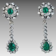 Vintage Emerald Diamond Day to Night Drop Earrings