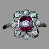 Antique Edwardian Ruby Diamond Openwork Ring