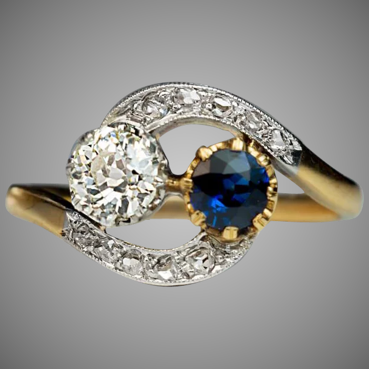 204381c78df0b Antique French Sapphire Diamond Crossover Engagement Ring