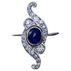 Belle Epoque Antique Cabochon Sapphire Diamond Scroll Ring