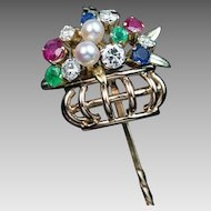 Vintage Tutti Frutti Multi Gem 14k Gold Basket Stick Pin