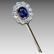 Vintage Sapphire Diamond Cluster 14K Gold Stickpin