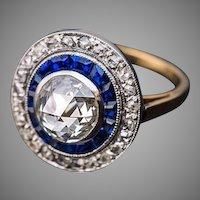 Antique Rose Cut Diamond Calibre Sapphire Platinum 18K Gold Engagement Ring