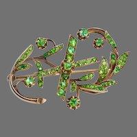 Art Nouveau Antique Russian Demantoid Garnet 14K Gold 10th Anniversary Brooch