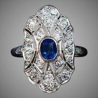 Antique Sapphire Diamond Platinum Topped Gold Engagement Ring