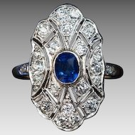 Antique Sapphire Diamond Platinum Topped Gold Engagement Ring