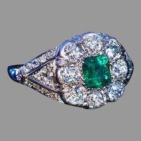 Vintage Art Deco Emerald Diamond Platinum Engagement Ring