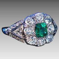 Vintage Art Deco Emerald Diamond Platinum Engagement Ring