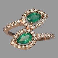 Contemporary Bypass Emerald Diamond Gold Ring