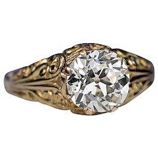 Antique 2.06 Ct Old Mine Cut Diamond Openwork 14K Gold Ring