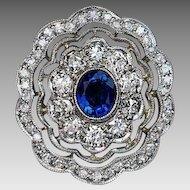 Vintage Art Deco Sapphire Diamond Lace Design Engagement Ring