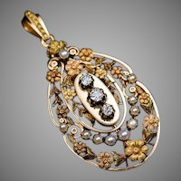 Belle Epoque Antique French 18K Gold Diamond Pearl Pendant