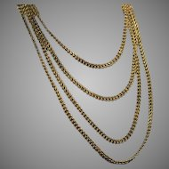 Antique Russian Imperial Era 80″ Long Gold Braided Necklace