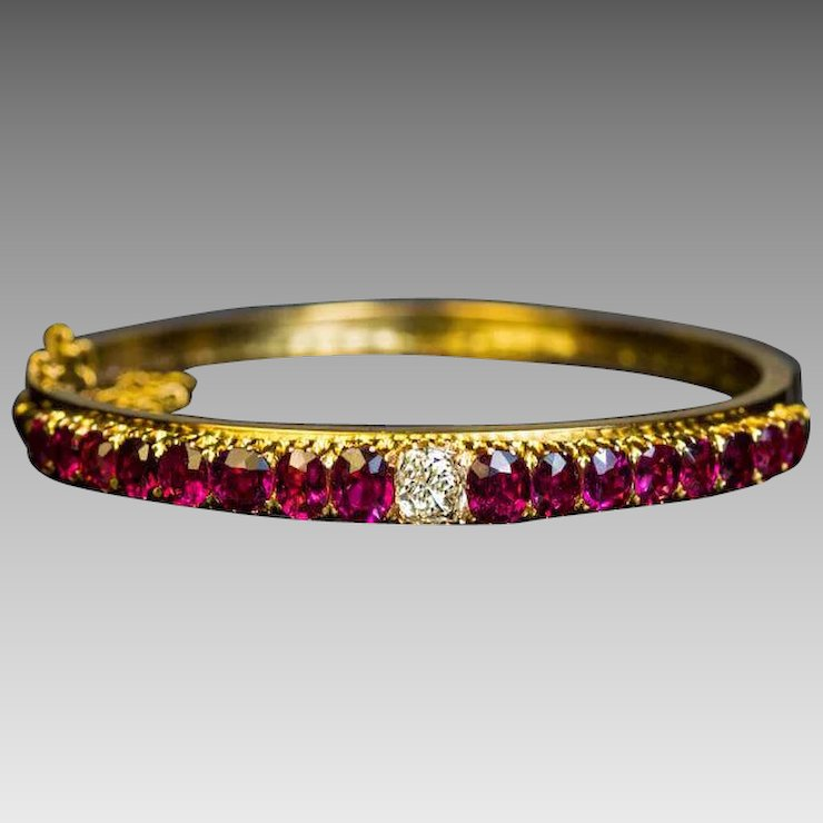 luxo bangle jewelry ruby diamonds gold ct rose bangles i sliced cut bracelet