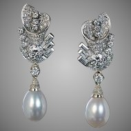Vintage Art Deco Diamond Cultured Pearl White 14K Gold Dangle Earrings