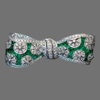 Vintage Art Deco Diamond Emerald Platinum Bow Brooch