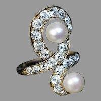 Belle Epoque Antique Diamond Pearl 14k Gold Ring
