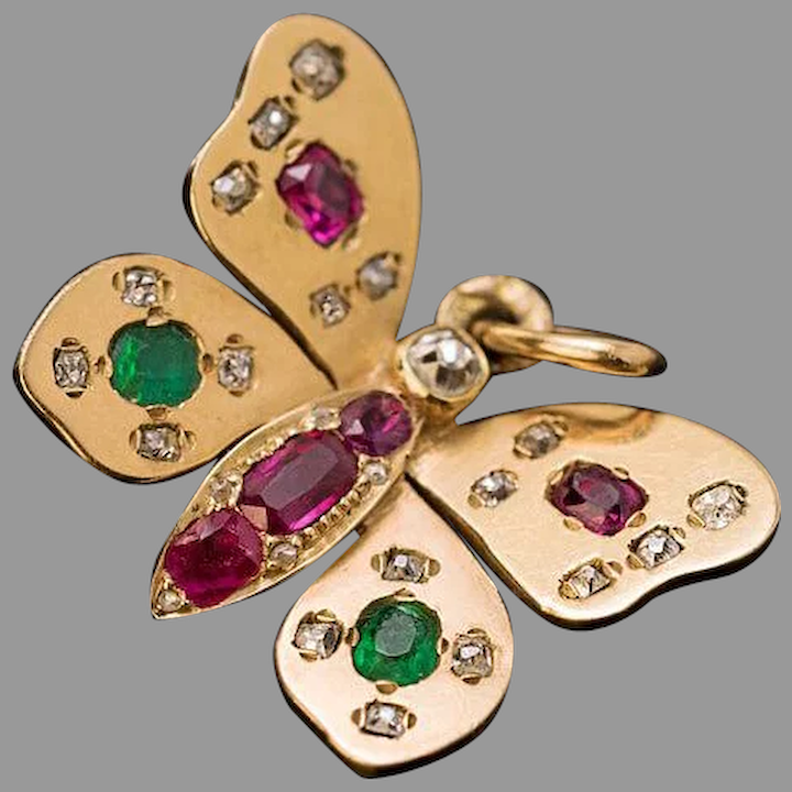 14K Ruby and Diamond Butterfly Pendant