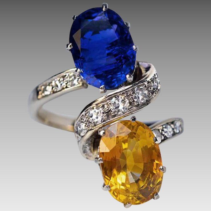 sapphire vintage gold ring platinum blue full ea french orange diamond l item