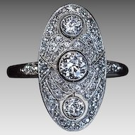 Art Deco Vintage Platinum Diamond Engagement Ring