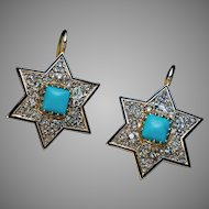 Antique Victorian Turquoise Diamond 14K Gold Star Earrings