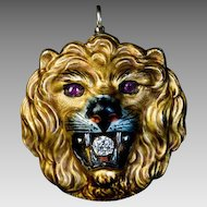 Antique Enamel 14k Gold Diamond Ruby Lion Pendant Brooch