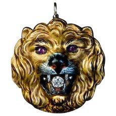 Antique Enamel 14k Gold Diamond Ruby Lion Pendant Brooch