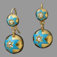 Antique Russian 14K Gold Blue Enamel Diamond Drop Earrings