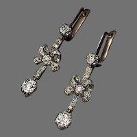 Antique Bow Motif Diamond Dangle Earrings