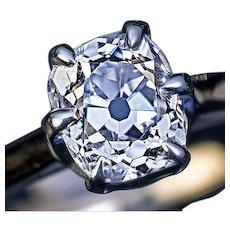 1.15 Ct F Color Antique Cushion Cut Diamond Engagement Ring