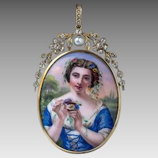 Antique Swiss Painted Enamel Diamond Pearl Gold Pendant