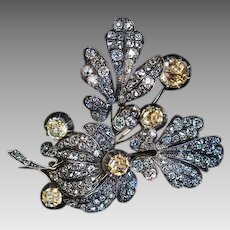 Large Antique Victorian Topaz 11 Ct Diamond Flower Brooch