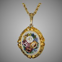 Large Antique Italian Micro Mosaic 14K Gold Locket Necklace