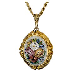 Large Antique Italian Micro Mosaic 14K Gold Locket Necklace