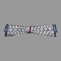 Vintage Art Deco Diamond Ruby Sapphire Bow Brooch