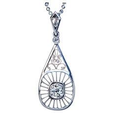 Vintage Russian Diamond 14K Gold Platinum Openwork Pendant Necklace
