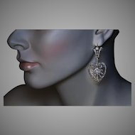 Belle Epoque Antique Heart Motif Diamond Dangle Earrings