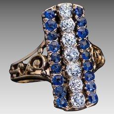 Antique Russian 19th Century Victorian Era Diamond Sapphire Openwork 14K Gold Ring
