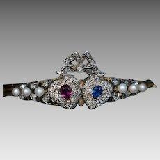 Antique Victorian Twin Heart Bangle Bracelet