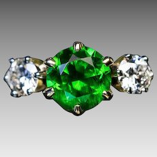 Excellent and Rare 1.67 Ct Russian Demantoid Garnet Ring