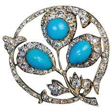 Antique Victorian Era Russian Turquoise Diamond 14K Gold Brooch
