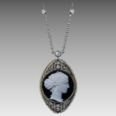 Antique Onyx Agate Cameo Diamond Pearl 14K Gold Necklace
