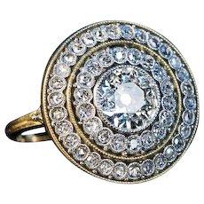Antique Belle Epoque Diamond Cluster Engagement Ring