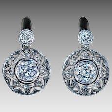 Antique Diamond Platinum 18K Gold Openwork Dangle Earrings - Edwardian / Early Art Deco Jewelry