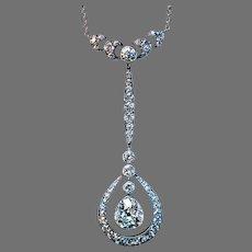 Antique Edwardian Drop Shaped 2 Ctw Diamond Necklace