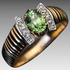Antique Russian Demantoid Diamond 14K Gold Ribbed Ring