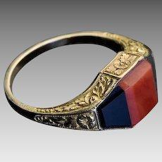 Vintage Art Deco Coral Onyx 14K Gold Unisex Ring
