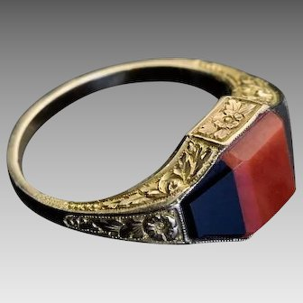 Vintage Art Deco Coral Onyx 14K Gold Unisex Ring